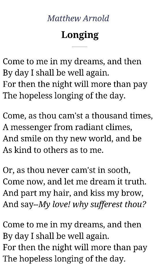 """Matthew Arnold, """"Longing"""""""