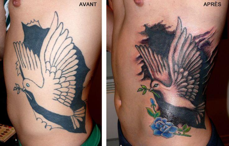 Tattoo cover-up. Reconstruction de tatouage par Gaëlle Mouster de L'Atelier du Corps (Longueuil Qc) 450-332-6496