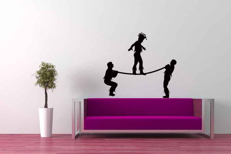 Cirque du Soleil Performers Tight Rope Walking - Decal Sticker Vinyl Wall Home Circus Decor