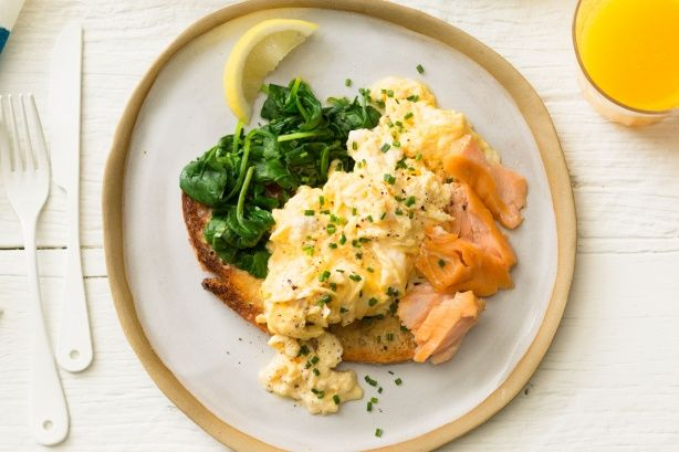 Hot-smoked salmon scrambled eggs main image