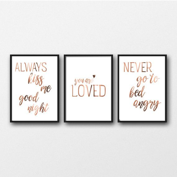 you are LOVED – set of 3 bedroom prints, real copper foil, always kiss me goodnight, never go to bed angry, copper foil posters, wall art