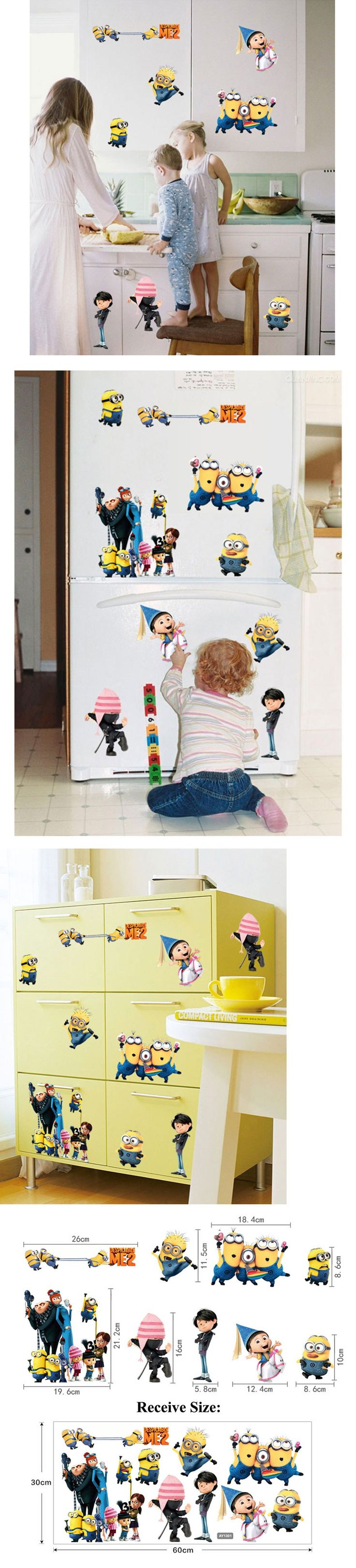 25 unique despicable me bedroom ideas on pinterest minions despicable me 2 cute cartoon wall stickers home decor removable vinyl art decals for kids minions amipublicfo Images