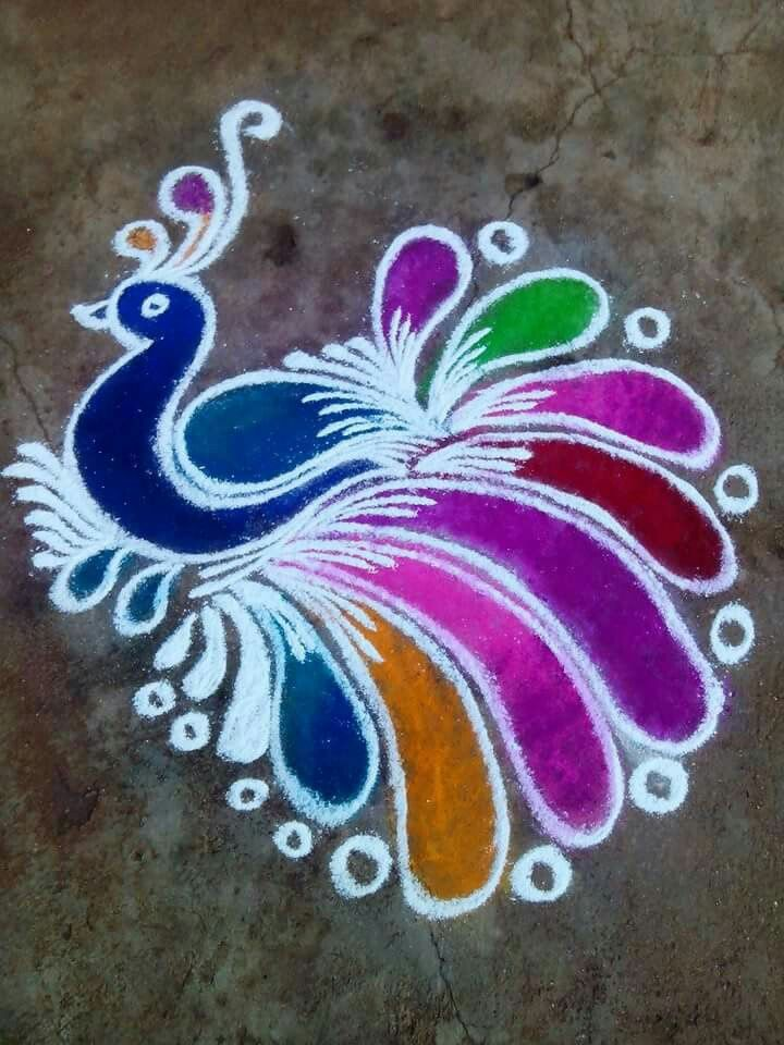 Another beautiful peacock rangoli!