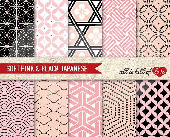 Digital Background Graphic JAPANESE Pink & Black by AllFullOfLove