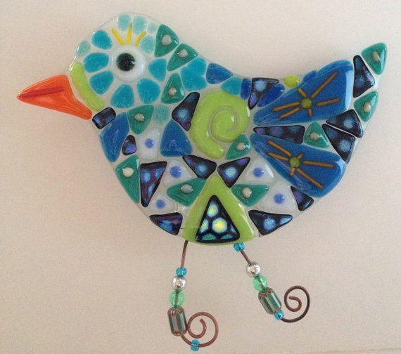 Triángulo azul ave nocturna de vitrofusión por NibNab en Etsy