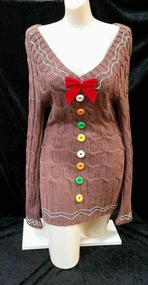 Sexy pretty ugly christmas sweater dress gingerbread juniors size small in Clothing, Shoes & Accessories | eBay
