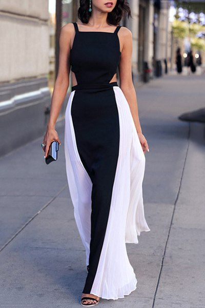 Stylish Square Neck Color Block Cut Out Backless Sleeveless Maxi Dress For Women