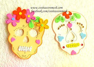 Cómo hacer calaveras y flores para día de muertos- Manualidades ~ cositasconmesh