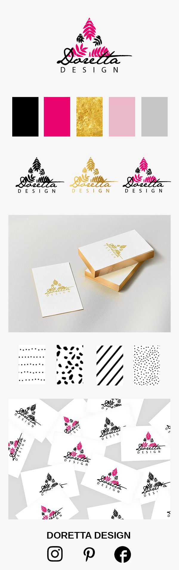 My corporate identity with logo, business cards, and patterns.