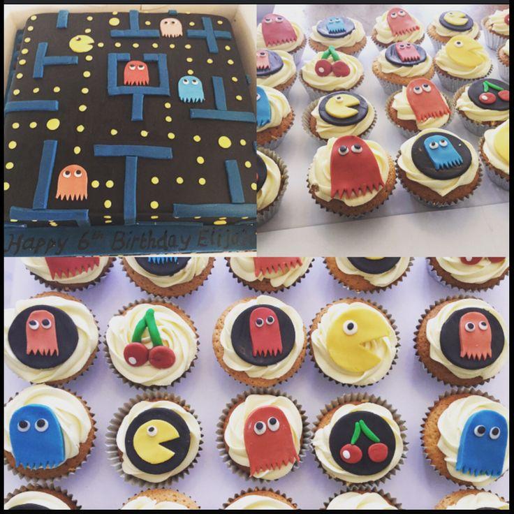 Pac man cake and cupcakes