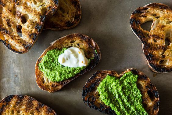 Grilled Bread with Thyme Pesto and Preserved Lemon Cream, a recipe on Food52