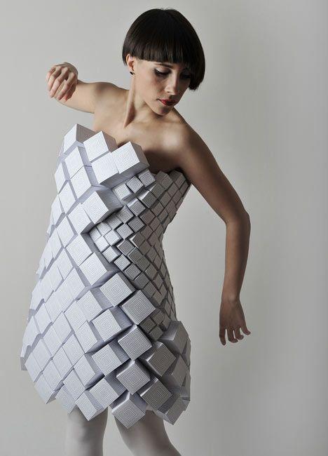 Geometric Fashion - white cube dress with repeating shapes - experimental fashion design; wearable art; 3D fashion // Amila Hrustic