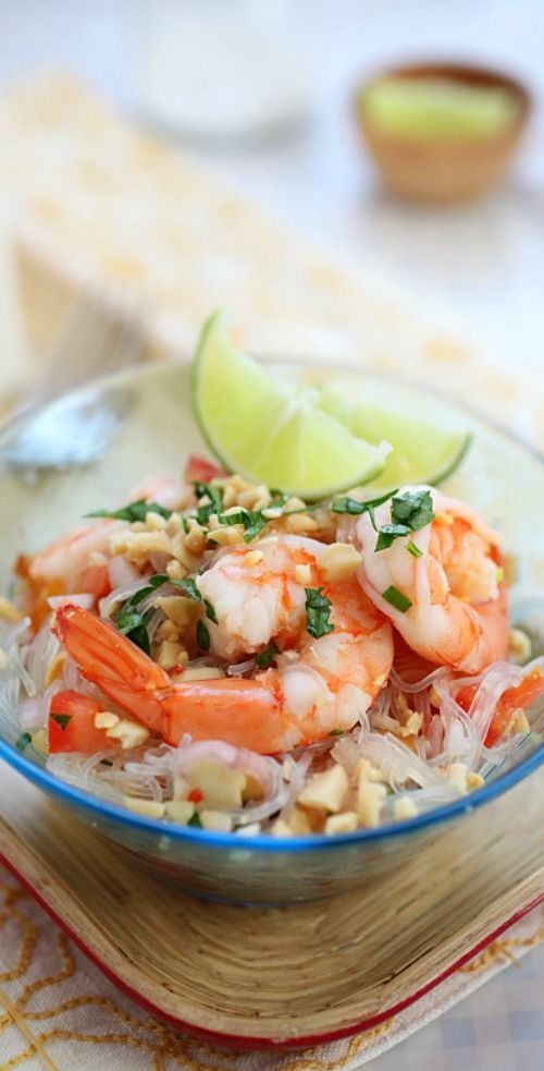 Thai Noodle Salad Yum Woon Sen – easy recipe of healthy Thai noodle salad with shrimp , in a delicious lime and sweet chili dressing | rasamalaysia.com