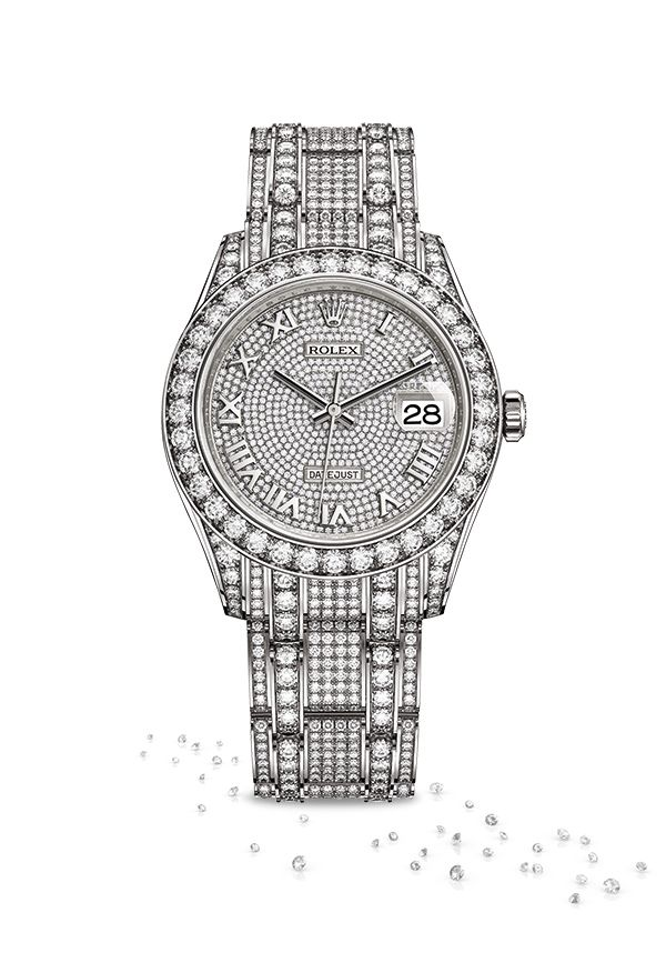 312f84c67597 The Rolex Pearlmaster 39 in 18ct white gold and diamonds with a  diamond-paved dial and Pearlmaster bracelet.