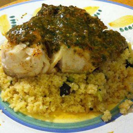 Fish with Moroccan Chermoula Sauce and Zucchini Couscous     #mealideas #meals