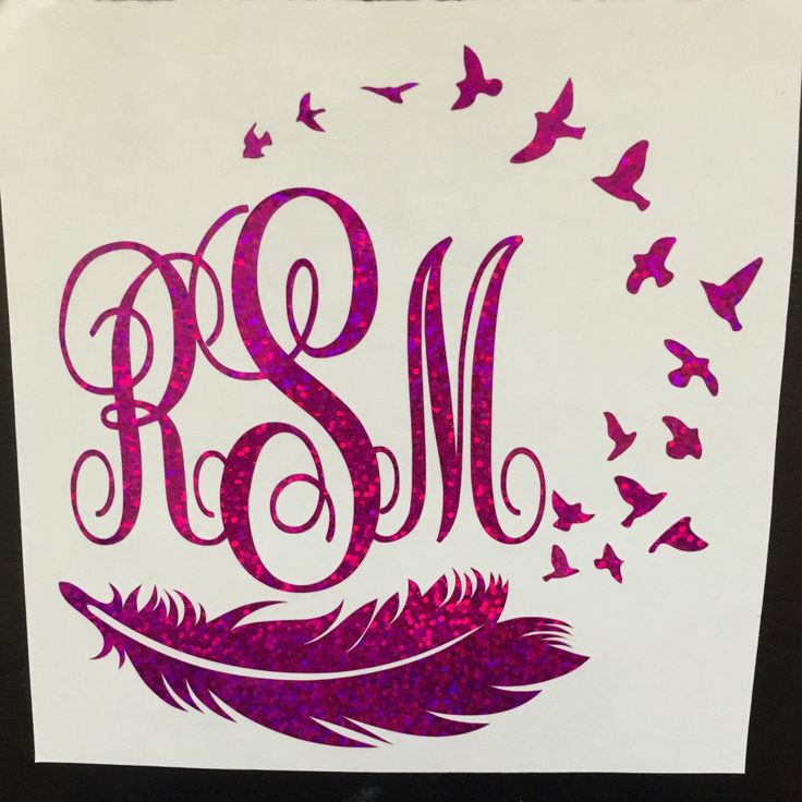 Holographic Purple Bird And Feather Decal Monograms
