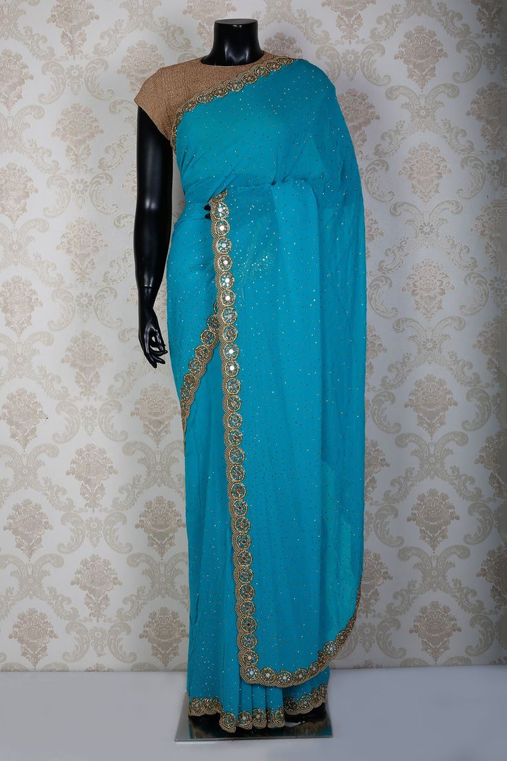 Deep sky blue pure georgette  saree with dull gold border -SR15082 | designer saree collection