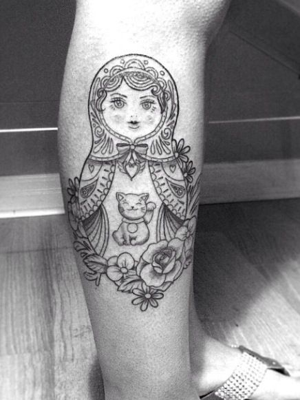 Babushka with lucky cat and sailor moon badge. Done by Nina in Toronto. Nina_dinh@hotmail.com