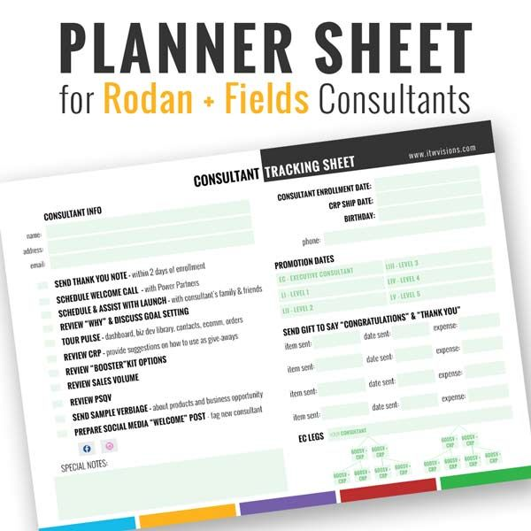 This planner and tracking sheet is a great way to keep your business organized and in check! Use this new consultant tracking info sheet to track your new business partner's information and make sure you are keeping in touch.This planner sheet includes fields for Consultant Info: name, address, email, enrollment date, CRP date, birthday, phone number. Promotion info such as dates and gifts sent. Track expenses of these gifts as well.When you purchase this instant download, you should b...