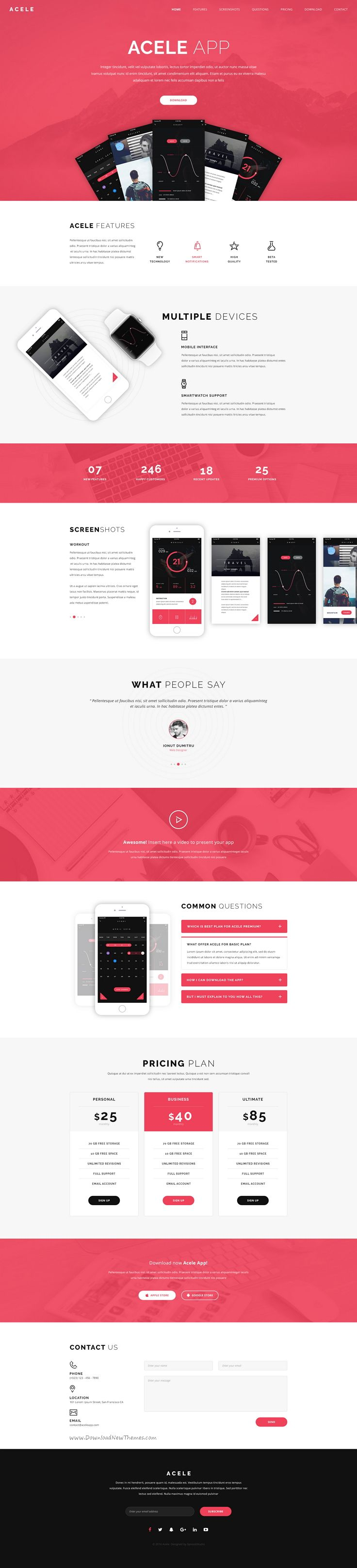 Acele is a creative clear and modern #PSD template for #apps #store website…