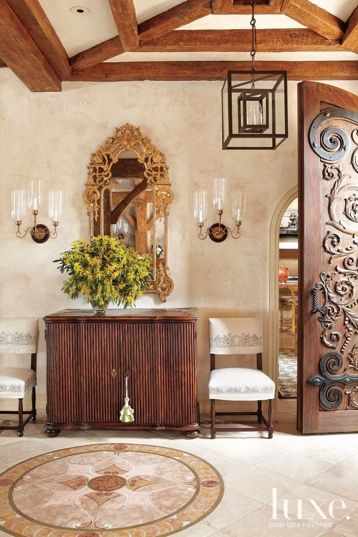 Mediterranean House Foyer : Mediterranean foyer with wooden console luxe entries