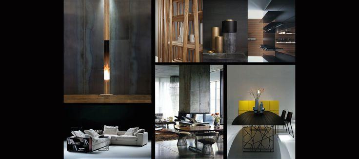 Interieuradvies sfeercollages Flexform bank, haard, blauwstaal en accessoires