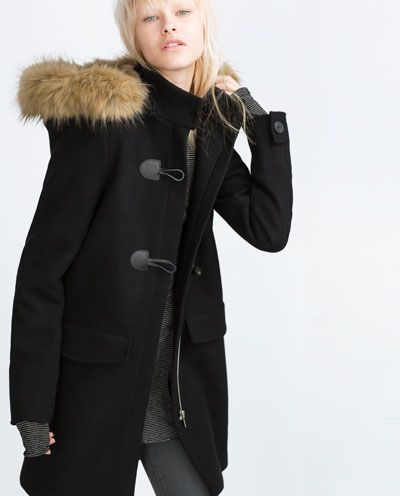 Image 4 of DUFFLE COAT WITH FAUX FUR HOOD from Zara