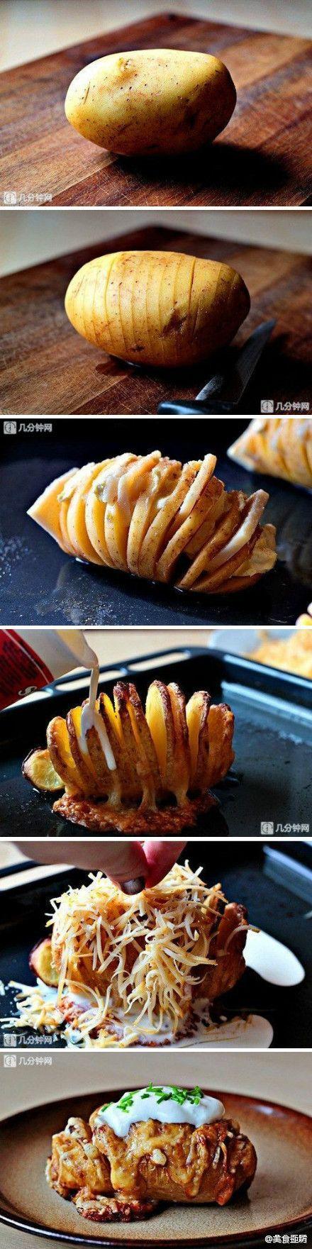 Çiğ patatesi tam bölmeden dilim,dilim kesiniz. İçine bol kaşar ekleyiniz. Biraz kızardıktan sonra tekrar rendelenmiş kaşar ve arzu ederseniz biraz krema dökerek 5 dk daha 150 derecelik fırında pişi…