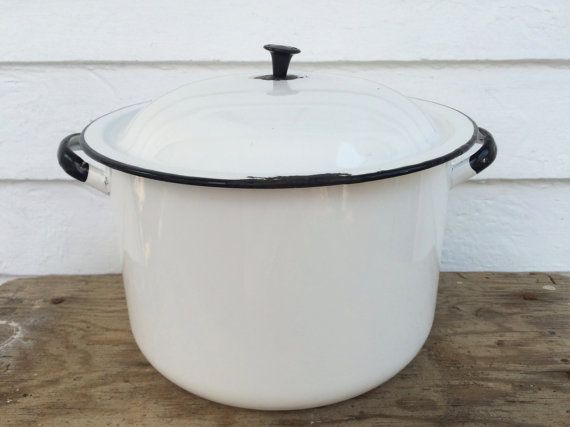 rustic enamelware stock pot with lid  10 quart by BlueRoverVintage