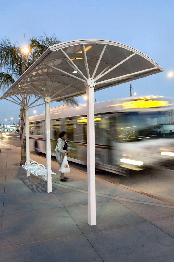 The Kaleidoscope transit shelter is an open modular structure configured from Kaleidoscope post-and beam-system elements to meet the specific requirements of individual transit stops. Using a few basic elements: posts and canopies, seating, and lighting, landscape designers can create a bus stop shelter or commuter station shelter that fits the site. LED lighting is optional and a solar solution is available.