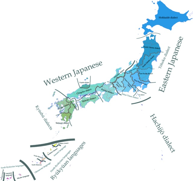 Dialectical map of the Japanese language throughout Japan