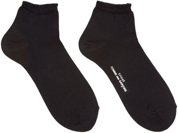 Tricot Comme des Garçons: Chaussettes noires à volants | SSENSE
