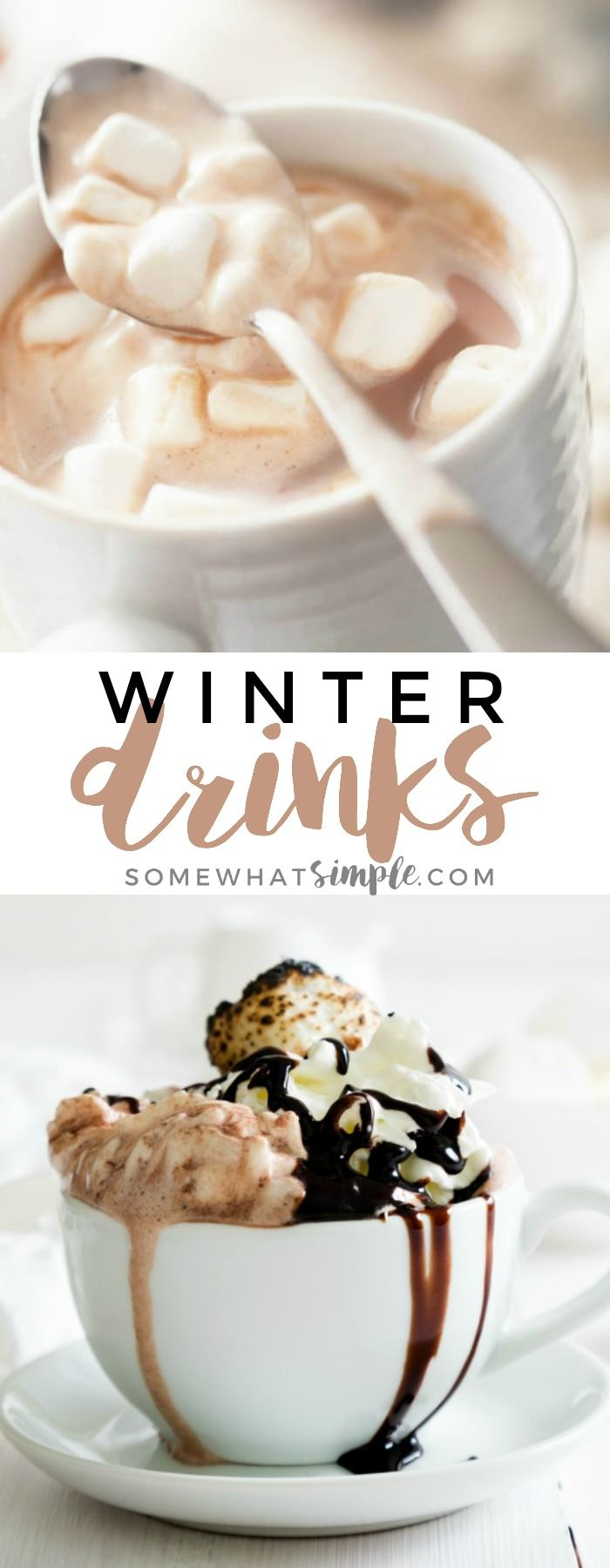 12 Winter Drinks - From caramel apple cider to gingerbread hot chocolate, these delicious winter drinks are bound to keep you warm and satisfied during these colder winter months! #drink #winter
