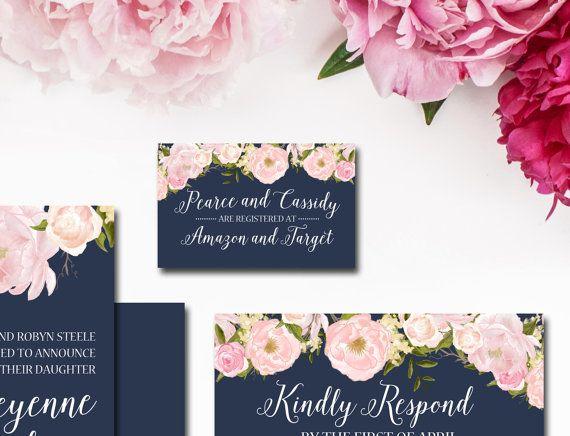 Navy and Blush Wedding Invitation Suite от SubwayArtNouveau