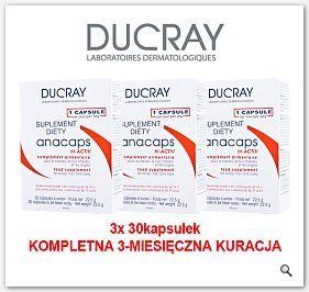 DUCRAY Anacaps Kapsułki na wypadanie włosów na paznokcie 1kapsułka dziennie 3x30kaps