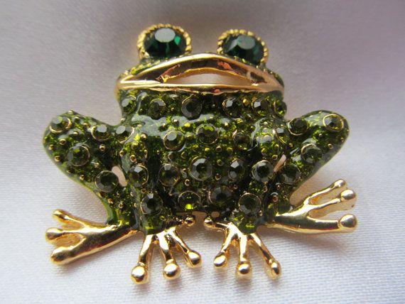 Vintage Green Rhinestone Frog Brooch Green Enamel Pin by mdstar, $10.00