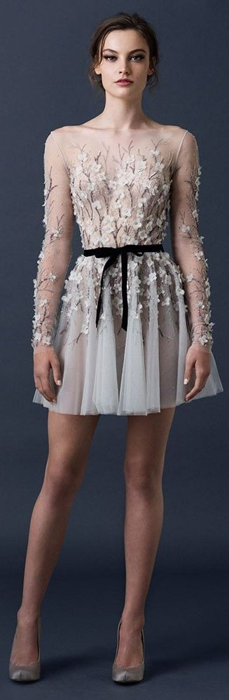 Paolo Sebastian Couture Fall/Winter 2014-2015... Love this lace look. By wearing short and/or cropped garments, fashionistas with a petite frame can make them appear taller... For more styling tips and gorgeous clothing check out: https://www.sizeable.com.au/