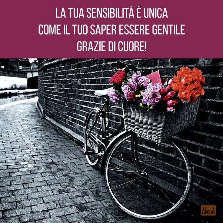 Biglietto ringraziamento - Biglietto con ologramma 3D - Bicicletta con fiori - Thank you card with 3D hologram - Flowers on a bike
