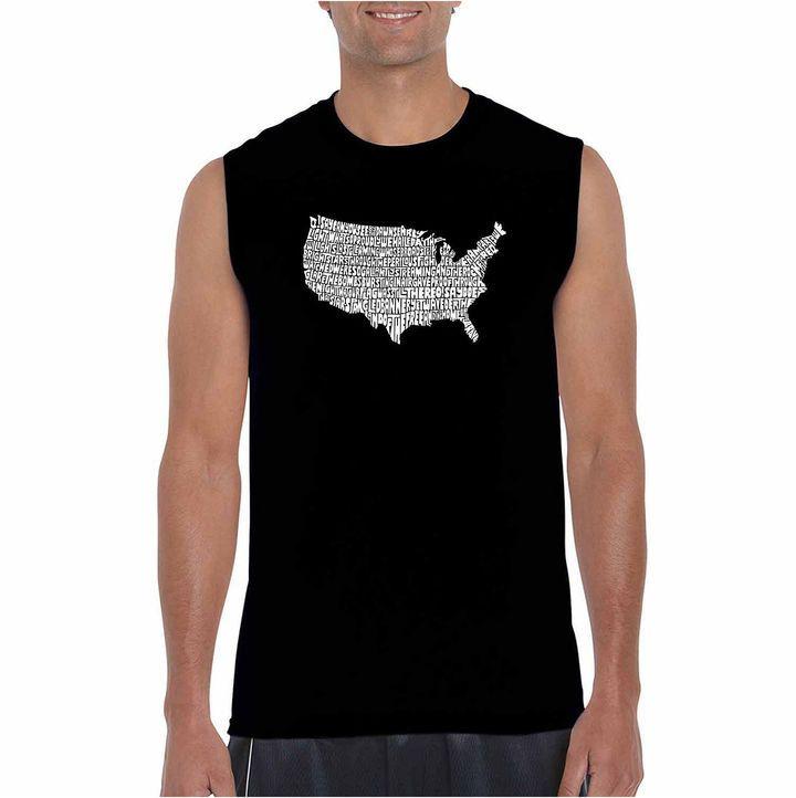 LOS ANGELES POP ART Los Angeles Pop Art Sleeveless the Star Spangled Banner Word Art T-Shirt