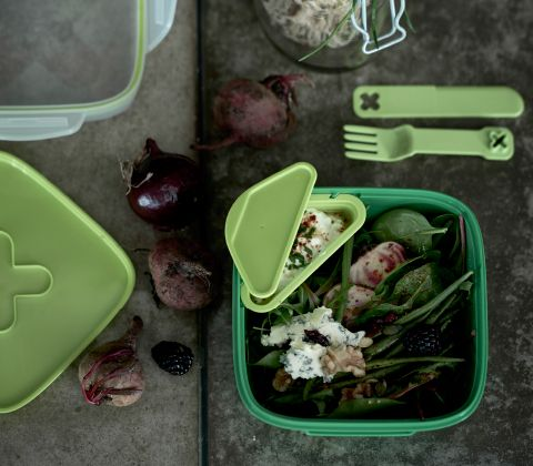 with a smart divider matching cutlery and a dressing holder blandning lunch box for - Ikea Lebensmittelbehlter