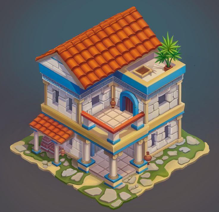 Дом в древней Греции (изометрия), Anna Shtirlitcz on ArtStation at https://www.artstation.com/artwork/0e9DE