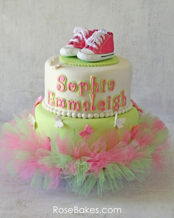 Pink & Green Tutu Baby Shower Cake with Butterflies and Pink Converse ~ love the use of a Tutu... cute inspiration!