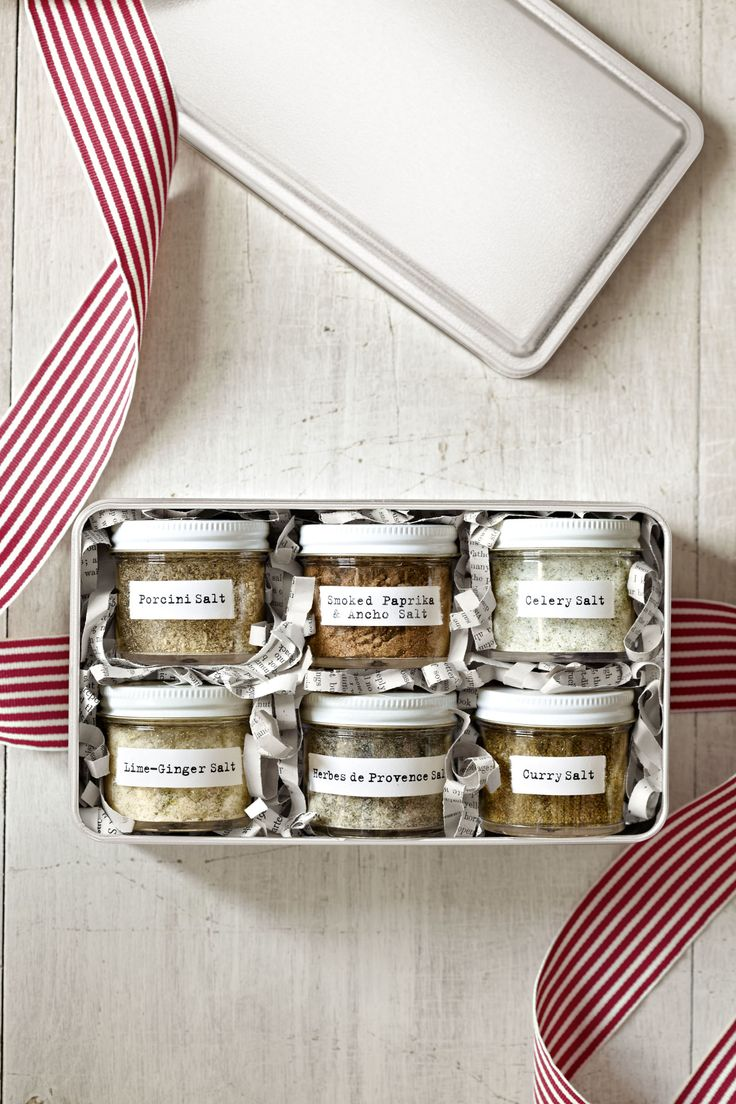 Flavored Salts. A beautifully packaged variety of flavored salts is a quick and simple gift any foodie will appreciate.