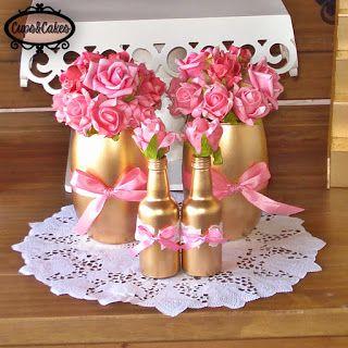 Cups&Cakes: Batizado Rosa, dourado e branco