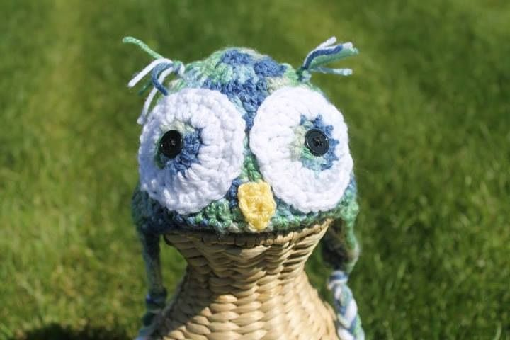 Crochet Owl Hat.  Blue and green.  3-6 month $25