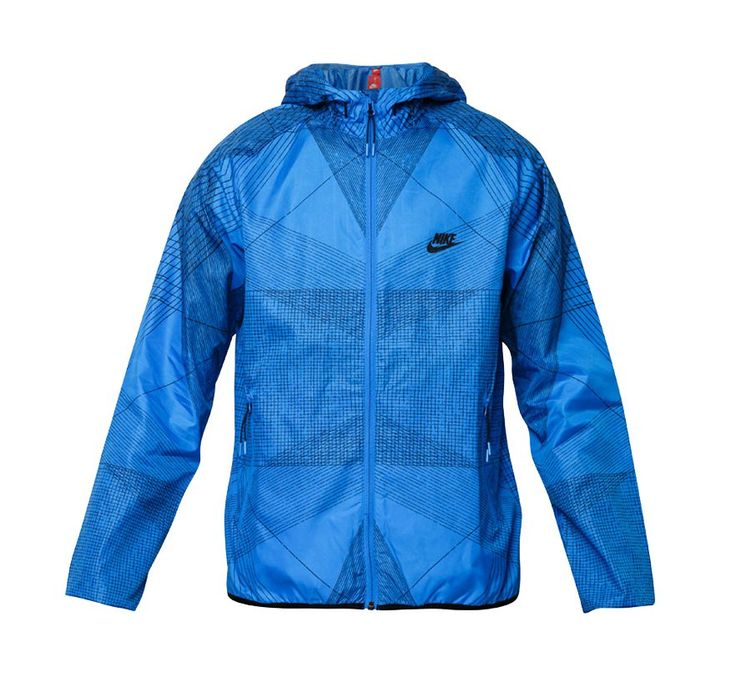As Ruprinted by Nike, running jacket that made of a polyester, this blue running, classic style jacket with zipper closure, round neck, long sleeves with a geometric pattern, this jacket ha s hoodie, perfect for night running.   http://www.zocko.com/z/JHhTB