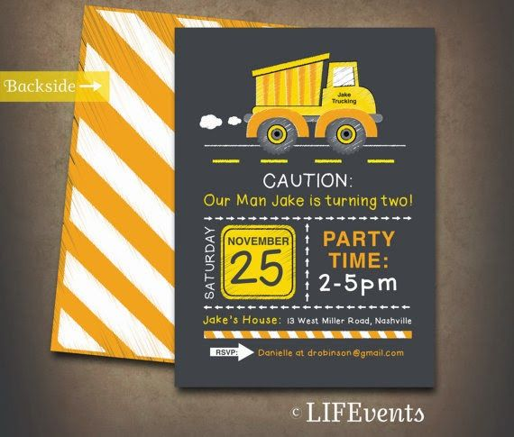17 best ideas about Construction Party Invitations – Construction Themed Birthday Party Invitations