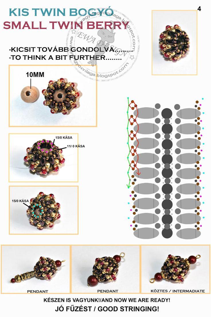 """Kis Twin Bogyó"" aka ""Small Twin Berry"" beaded bead tutorial from the blog of Eva Kovács on 2012 június 11.  _  Page 4 of 4."