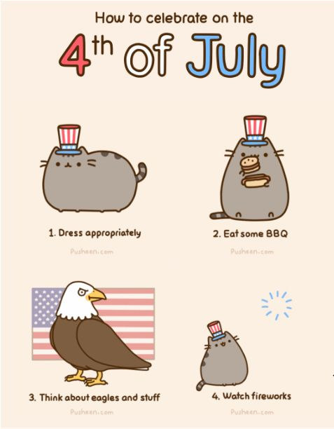 Pusheen the cat, how to celebrate the 4th of July. :)