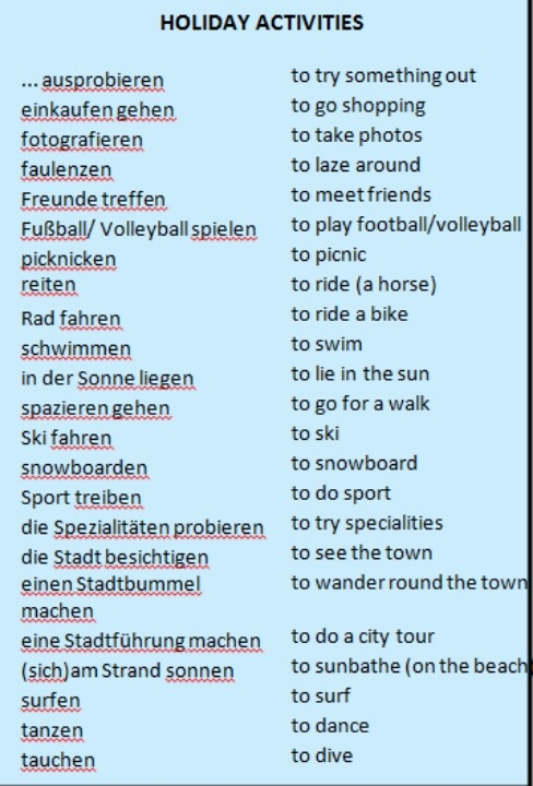 Holiday activities #deutsch #urlaub #wortschatz